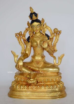 "Fully Gold Gilded 9.25"" Green Tara Statue - Front"