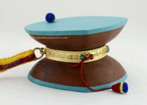 "5.5"" Chod Damaru Drum Set, Height 3.25"" (Nepali Wood, 24k Gold Gilded Ring) - Right"
