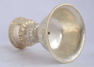 "Tibetan Butter Lamp 6.5"" (Copper Alloy, Silver Plated)"