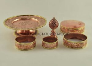 "Tibetan Mandala Set 9.5"" Antiquated, Brass Rings, Gold Gilded (Semiprecious Stones) - Parts"