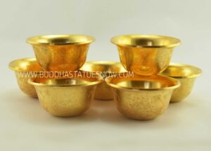 "3.5"" Set of 7 Offering Bowls Fine Hand Carvings, Fully Gold Plated - Gallery"