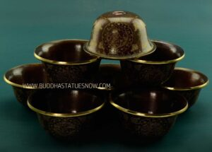 """3.5"""" Set of Eight Offering Bowls, Hand Carved Oxidized Copper Finish w/24k Gold Gilding - Gallery"""
