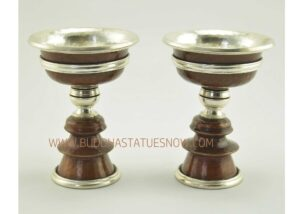 "4.25"" Tibetan Butter Lamps Set Antiquated Copper Finish w/Silver Plating - Gallery"