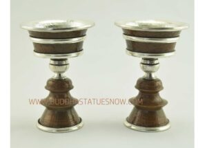 "5"" Tibetan Butter Lamps Hand Carved Antiquated Copper w/Silver Plating - Gallery"