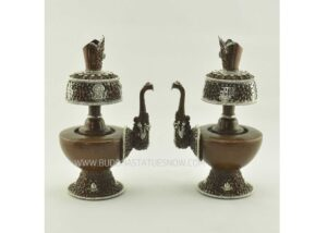 "9"" Tibetan Bhumpa Set Antiquated Copper w/Silver Plating, Stones - Gallery"