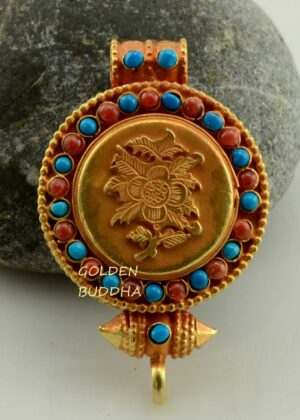 Lotus Flower Ghau Pendant 45mm, Gold Plated Silver, Embedded Coral and Turquoise - Gallery