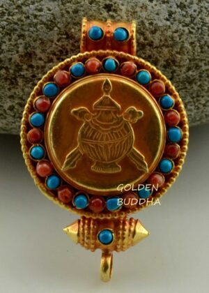Treasure Vase Ghau Pendant 45mm, Gold Plated Silver, Embedded Coral and Turquoise - Gallery