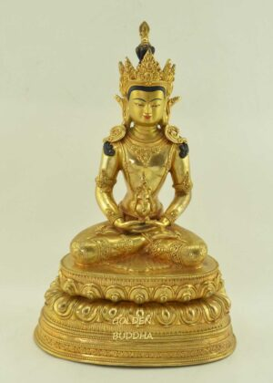 "Fully Gold Gilded 13"" Aparmita Sculpture, Beautiful Engravings, Hand Face Painted - Gallery"