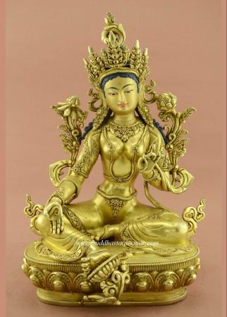 "Fully 24k Gold Gilded 15"" Green Tara Buddha Statue (Antiquated) - Front"